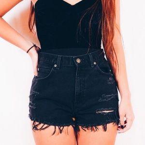 Pants - Black High Waist Grunge Shorts, Distressed Shorts